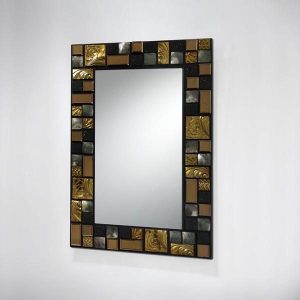 Espejo mosaic g dorado iluminacion zaragoza for Espejos decorativos dorados