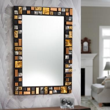 espejo mosaic g dorado